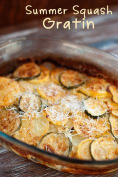 simple summer side dish recipe using squash, zucchini, potatoes and cheese!
