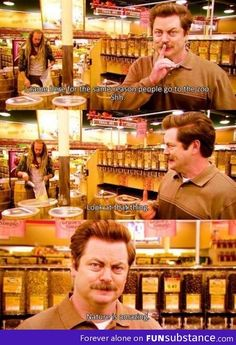 "Ron Swanson at the 'zoo' ""Nature is amazing"""
