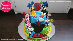 mickey mouse clubhouse birthday cake design ideas decorating tutorial classes courses video at home Simple Birthday Cake Designs, Cake Designs For Kids, Simple Cake Designs, Cake Decorating Designs, Beautiful Birthday Cakes, Cake Decorating Classes, Easy Cake Decorating, Decorating Ideas, Mickey Birthday Cakes