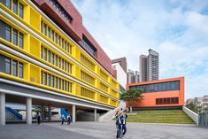 zhubo-aao and H design bring colorful outdoor learning to school in shenzhen designboom Architecture Collage, Education Architecture, Chinese Architecture, Facade Architecture, School Architecture, H Design, Facade Design, School Building Design, School Design