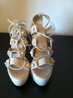 New Balenciaga Paris Wedge Heel Espadrille Sandals Sz37