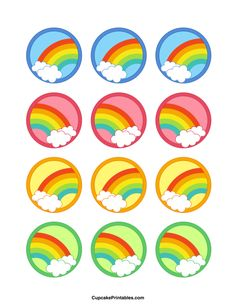 Rainbow cupcake toppers. Use the circles for cupcakes, party favor tags, and more. Free printable PDF download at http://cupcakeprintables.com/toppers/rainbow-cupcake-toppers/