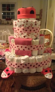Ladybug Diaper Cake - excuse the mess on the table :)
