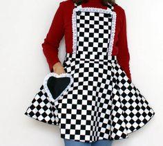 Black & White Retro Apron | awesome heart pocket