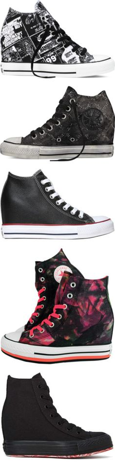 Wedged Sneakers by unicorn1233 on Polyvore featuring shoes, sneakers, chuck taylor, converse, american shoes, wedge heel shoes, wedges shoes, converse shoes, converse sneakers and holiday shoes