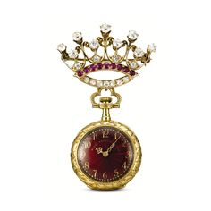 Bailey Banks and Biddle & Co. | Lot | Sotheby's - A FINE ART NOUVEAU YELLOW GOLD, ENAMEL, RUBY AND DIAMOND-SET OPEN-FACED KEYLESS WATCH WITH BROOCH CIRCA 1905