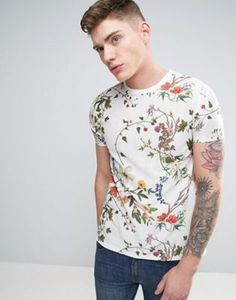 58deda9b5fc91 ASOS T-Shirt In Textured Fabric With All Over Floral Print Asos T Shirts,
