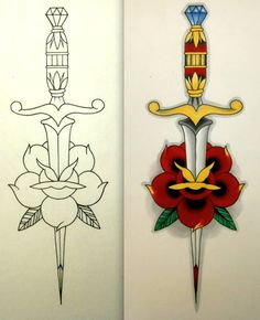 Traditional Dagger In Red Rose Traditional Tattoo Stencil