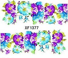 Nagelsticker water transfer XF 1377, bunt, Blume, Restposten, Sticker