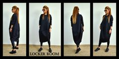 Black loose tunic / Oversize neoprene dress / Maxi long tunic