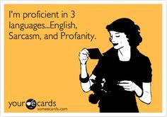 I'm proficient in 3 languages...English, Sarcasm, and Profanity.