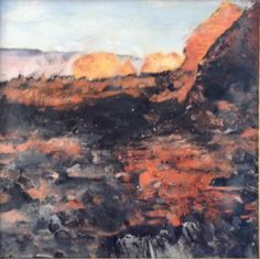 """""""Red Rock Country version two"""" Encaustic by John Warren Oakes Coll: Robert and Louise MacDonald"""