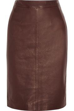 Shop Alexander Mcqueen Leather Pencil Skirt from stores. Real Leather Skirt, Brown Leather Skirt, Red Leather, Leather Skirts, Brown Skirts, Red Skirts, High Skirts, Alexander Mcqueen, Burgundy Skirt