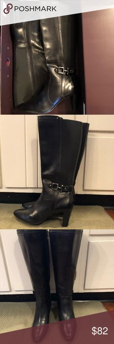 NIB Anne Klein black boots NIB Anne Klein black boots. Bought to wear for an event and went with something else. Zip side. Bought at Macy's Anne Klein Shoes Heeled Boots