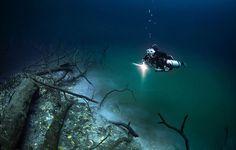 Hidden Underwater River Flowing Under the Ocean in Mexico