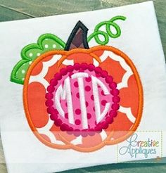 Pumpkin Monogram Beaded Applique - 4 Sizes! | What's New | Machine Embroidery Designs | SWAKembroidery.com Creative Appliques