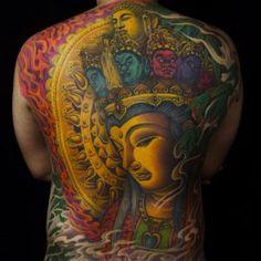 Colorful Buddha back piece by Zhanshan