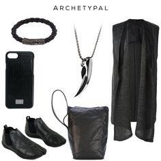 Archetypal - Stylish since the dawn of time // Clockwise: Braided Bracelet by NIALAYA, FENRIR pendant by @svorndesign, Sleeveless Cardigan by LOST & FOUND RIA DUNN, Bucket Shoulder Bag by RICK OWENS, Tabi Boots by AYYA, Snake skin effect iPhone 6 Case by DOLCE & GABBANA //  #style #goth #black #darkfashion #darkstyle #luxury #fashion #accessoriesmen #accessoriesformen #fashionaccessories #accessories #mensgoods #avantgarde #blackart  #allblack #allblackeverything #nickel #chrome #noir #bag