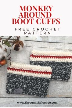 Monkey Around Boot Cuffs - Free Pattern This free boot cuff crochet pattern will be a great addition to your quick gift giving collection! A classic look with a modern twist will quickly become your go - to fave crochet pattern! Crochet Boots, Crochet Scarves, Crochet Headbands, Knit Headband, Baby Headbands, Crochet Beanie, Crochet Boot Cuff Pattern, Crochet Patterns, Crochet Ideas