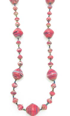 Hot pink w/ stripes gigantic bead necklace