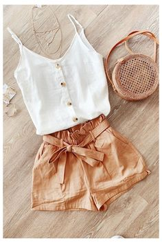 Summer Shorts Outfits, Tank Top Outfits, Summer Fashion Outfits, Summer Outfits Women, Fall Outfits, Fashion Tips, Beach Style Fashion, Fashion Fashion, Summer Fashion For Teens