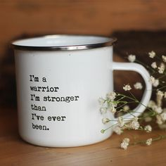 """We are all warrior goddesses with a tireless fighting spirit -- sometimes we just need a little reminder. With our """"Warrior"""" enamel mug, every sip of your favorite brew will help you remember this. Our inspirational, lightweight cups are the perfect treat for the tea lover or coffee fiend in your life. Shop our collection today!"""