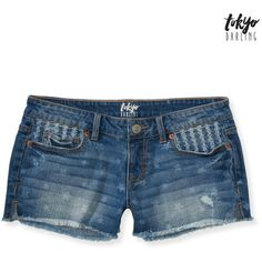 Aeropostale Tokyo Darling Stars Medium Wash Destroyed Shorty Shorts ($14) ❤ liked on Polyvore