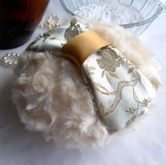 BODY POWDER PUFF. Golden ivory brocade. Soft custard pouf by BonnyBubbles, $14.95 @Etsy #puff #powder #brocde #custardcream #boudoir