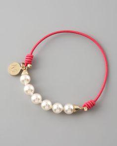 Elastic cord Elastic Pearl Bracelet, Fuchsia by Majorica at Neiman Marcus.