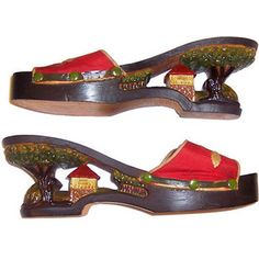 1940's Hand-Carved Wooden Shoes from the Philipp...