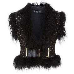 Balmain Shearling Trim Studded Leather Gilet (11,100 ILS) ❤ liked on Polyvore featuring outerwear, vests, gilet vest, balmain, studded leather vest, waist belts and pattern vest