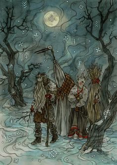 Traditions by LiigaKlavina Latvian Winter Solstice mask costume armor clothes clothing fashion player character npc | Create your own roleplaying game material w/ RPG Bard: www.rpgbard.com | Writing inspiration for Dungeons and Dragons DND D&D Pathfinder PFRPG Warhammer 40k Star Wars Shadowrun Call of Cthulhu Lord of the Rings LoTR + d20 fantasy science fiction scifi horror design | Not Trusty Sword art: click artwork for source