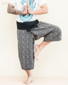 Cropped Thai Fisherman Pants Black Yoga Capris (Mountain Diamond Weave) Yoga Capris, Yoga Pants, Harem Pants, Thai Fisherman Pants, Hippie Pants, Woven Wrap, Black Yoga, Small Waist, Ethnic Fashion