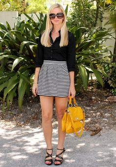 solid button-up, striped high-waisted mini, strappy heels, purse as a pop of color