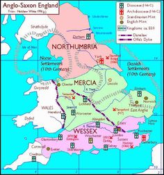 Map of Anglo-Saxon Enland: Northumbria, Mercia, Wessex
