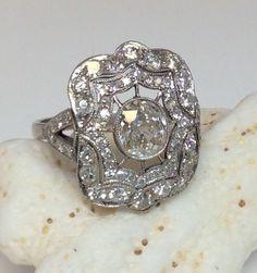 Antique Art Deco Platinum 1.90ct Old Mine Diamond Engagement Ring Circa 1920S