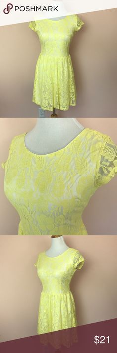 """Vanity Yellow Lace Short Sleeve Dress Size Small This listing is for a Vanity Yellow Lace Cap Sleeve a-line Dress in a size small.  •exposed zipper closure in back, fully lined •armpit to armpit 15"""" •waist 13 1/2"""" side to side  •length 32"""" •modeled on a Size 6/8 dress form •shell 80% Cotton, 20% nylon contrast 100% polyester •Machine wash cold, line dry •dress will be delivered gently streamed & beautifully wrapped in tissue  🍑Follow us on Instagram @peachesandking 🍑 Vanity Dresses Mini"""