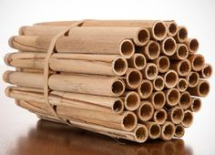 An all-natural alternative to paper straws or tunnels, these nesting tubes are made from hand-cut dried stems of hollow reeds that grew on a lake bed. At 6 inches long, they're the ideal depth for mason bees to lay their eggs. With a naturally varying diameter,  they invite not only mason bees and hornfaced bees, but other native bees as well. These reeds fit all our mason bee homes. In a side-by-side comparison, spring mason bees preferred reed to tubes.