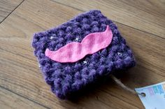 Purple Mustache Knit Coffee Cozy by KnittingbySengul on Etsy