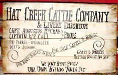 "306 Hat Creek Cattle Wood Sign 23x36"" Lonesome Dove"