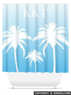 Sorority Palm Trees Blue Shower Curtain | Free Shipping. Order for your sorority (shown in Kappa Delta)! ** Also comes in other designs. Shop now! http://www.greeku.com/sorority/merchandise/home-decor/shower-curtains/palm-trees-blue-shower-curtain/