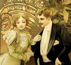 Flirt (detail), by Alphonse Mucha, 1899