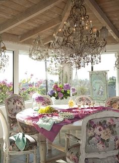 Oh so shabby dining...love chandeliers