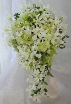 キャスケード 蘭 白のデンファレ : 一会 ウエディングの花