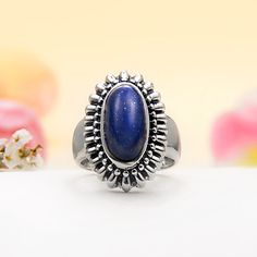 Sterling Silver Deep Blue Lapis Ring