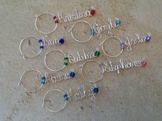 These will be a MUST for me and my bridesmaids!!  Wine Glass Charm Personalized Wine Charm by TrendyTrappings, $4.00