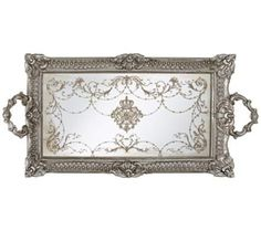 """Vintage style antique nickel mirrored tray. 23 1/4"""" wide. 11 1/4"""" deep. 1 1/4"""" high. $34.95."""