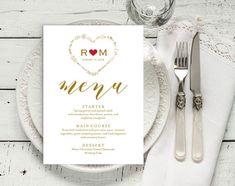Gold Wedding Menu Template Wedding Dinner Menu Rustic Vow Renewal Invitations, Kraft Wedding Invitations, Wedding Menu Template, Rustic Wedding Menu, Wedding Dinner Menu, Wedding Cales, Thank You Printable, Menu Cards, Blue Wedding