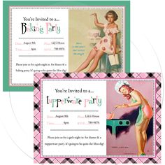 Printable personalize pinup invitation tupperware party, baking or cooking parties DIGITAL 2 pin up girls to choose from. $12.99, via Etsy.