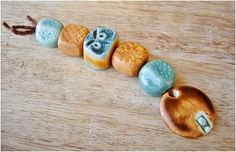"""Ceramic bead set - Conjunto de cerámica """"  canela- turquesa """" - MAJOYOAL"""